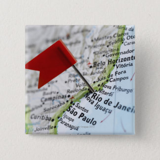 Map pin placed in Rio de Janeiro, Brazil on map,