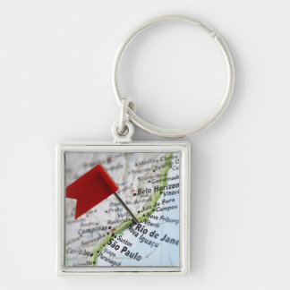 Map pin placed in Rio de Janeiro, Brazil on map, Key Ring