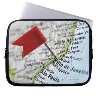 Map pin placed in Rio de Janeiro, Brazil on map, Laptop Sleeve