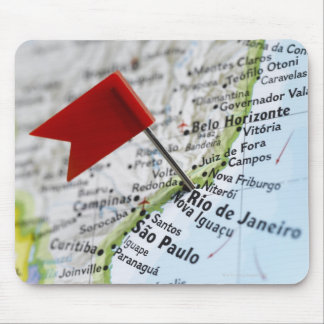 Map pin placed in Rio de Janeiro, Brazil on map, Mouse Mat