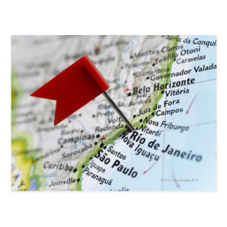 Map pin placed in Rio de Janeiro, Brazil on map, Postcard