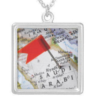 Map pin placed in Riyadh, Saudi Arabia on map, Square Pendant Necklace