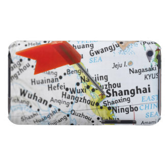 Map pin placed in Shanghai, China on map, Barely There iPod Covers