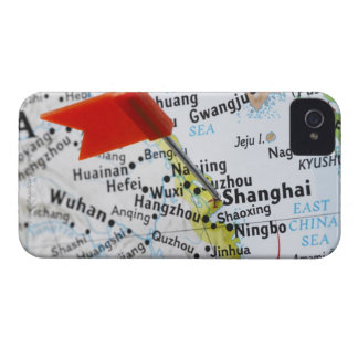 Map pin placed in Shanghai, China on map, iPhone 4 Case