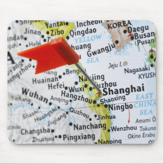 Map pin placed in Shanghai, China on map, Mouse Mat