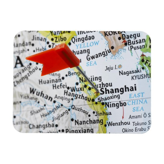 Map pin placed in Shanghai, China on map, Rectangular Photo Magnet