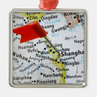 Map pin placed in Shanghai, China on map, Silver-Colored Square Decoration
