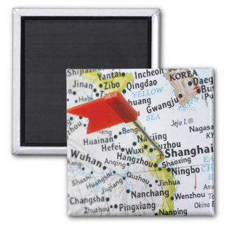 Map pin placed in Shanghai, China on map, Square Magnet