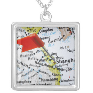 Map pin placed in Shanghai, China on map, Square Pendant Necklace