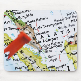 Map pin placed in Singapore on map, close-up Mouse Pad