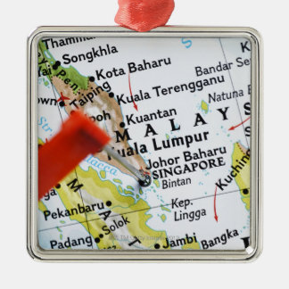 Map pin placed in Singapore on map, close-up Silver-Colored Square Decoration
