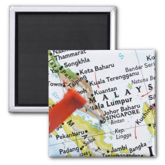 Map pin placed in Singapore on map, close-up Square Magnet
