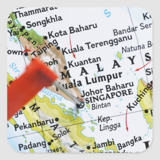 Map pin placed in Singapore on map, close-up Square Sticker