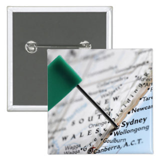 Map pin placed in Sydney, Australia on map,