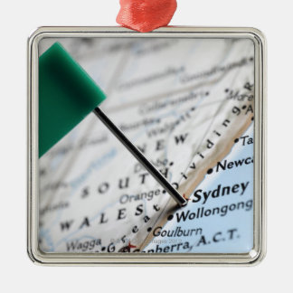 Map pin placed in Sydney, Australia on map, Christmas Ornament