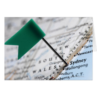 Map pin placed in Sydney, Australia on map, Greeting Card