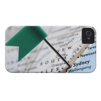Map pin placed in Sydney, Australia on map, iPhone 4 Case
