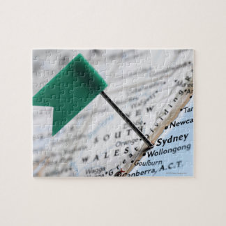 Map pin placed in Sydney, Australia on map, Jigsaw Puzzle