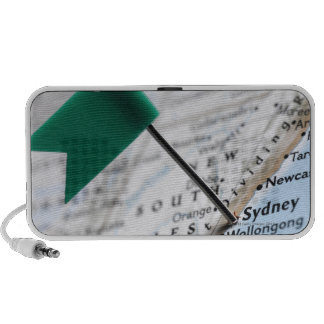 Map pin placed in Sydney, Australia on map, Notebook Speakers
