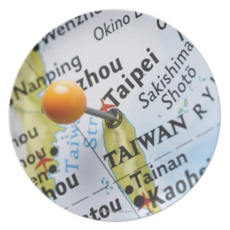 Map pin placed in Taipei, Taiwan on map, Plate