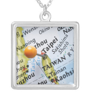 Map pin placed in Taipei, Taiwan on map, Square Pendant Necklace