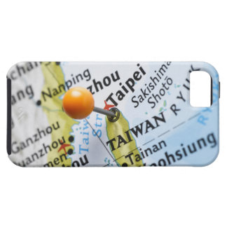 Map pin placed in Taipei, Taiwan on map, Tough iPhone 5 Case
