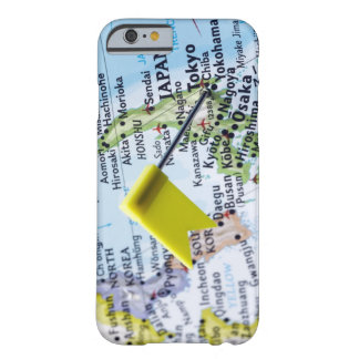 Map pin placed in Tokyo, Japan on map, close-up Barely There iPhone 6 Case