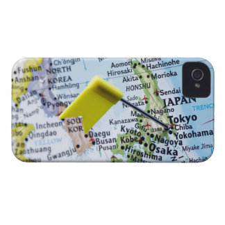 Map pin placed in Tokyo, Japan on map, close-up iPhone 4 Cover