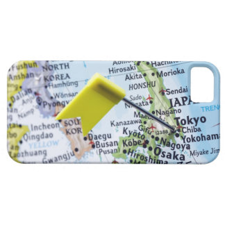 Map pin placed in Tokyo, Japan on map, close-up iPhone 5 Covers