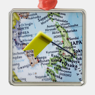 Map pin placed in Tokyo, Japan on map, close-up Silver-Colored Square Decoration