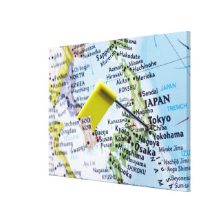 Map pin placed in Tokyo, Japan on map, close-up Stretched Canvas Print