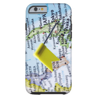 Map pin placed in Tokyo, Japan on map, close-up Tough iPhone 6 Case