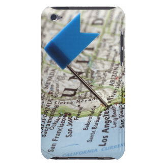 Map pin placed on Los Angeles, California on Barely There iPod Cover