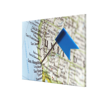 Map pin placed on Los Angeles, California on Canvas Prints