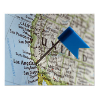 Map pin placed on Los Angeles, California on Poster