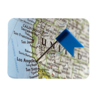 Map pin placed on Los Angeles, California on Rectangular Photo Magnet