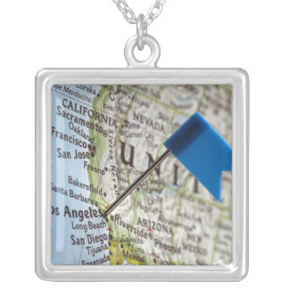 Map pin placed on Los Angeles, California on Silver Plated Necklace