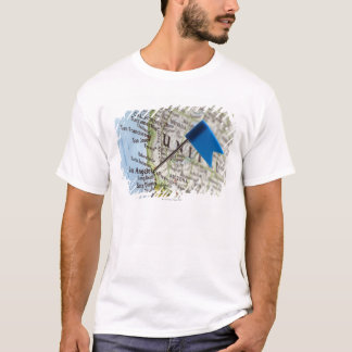 Map pin placed on Los Angeles, California on T-Shirt