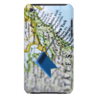 Map pin placed on New York City on map, close-up iPod Case-Mate Case