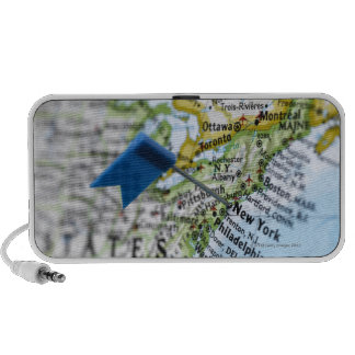Map pin placed on New York City on map, close-up Mp3 Speakers