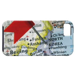 Map pin placed on North Korea on map, close-up Tough iPhone 5 Case