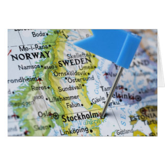 Map pin placed on Stockholm, Sweden on map, Greeting Card