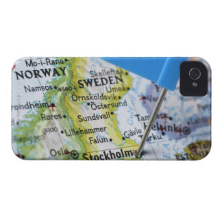 Map pin placed on Stockholm, Sweden on map, iPhone 4 Cover