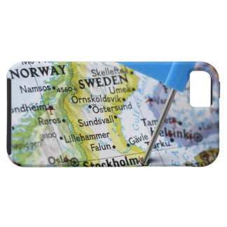 Map pin placed on Stockholm, Sweden on map, iPhone 5 Cover