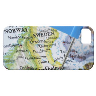 Map pin placed on Stockholm, Sweden on map, iPhone 5 Covers