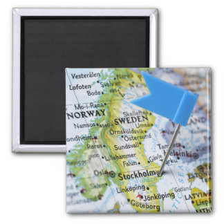 Map pin placed on Stockholm, Sweden on map, Square Magnet