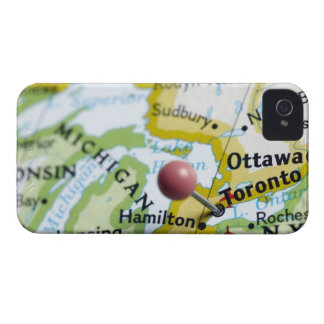 Map pin placed on Toronto, Canada on map, iPhone 4 Case-Mate Case