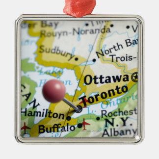 Map pin placed on Toronto, Canada on map, Silver-Colored Square Decoration
