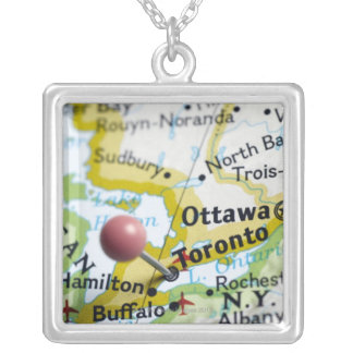 Map pin placed on Toronto, Canada on map, Silver Plated Necklace