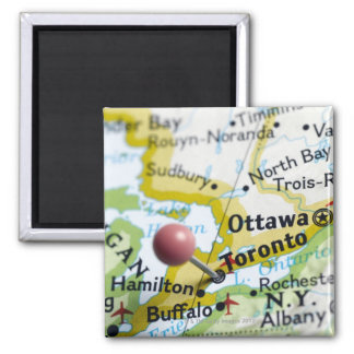 Map pin placed on Toronto, Canada on map, Square Magnet